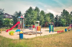Playground for children. Playground near a new housing estate royalty free stock photo