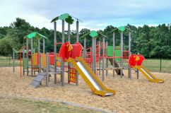 Playground for children. Playground near a new housing estate stock photography