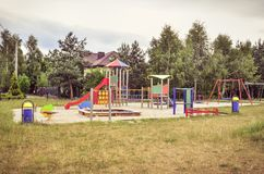 Playground for children. Playground near a new housing estate royalty free stock photography