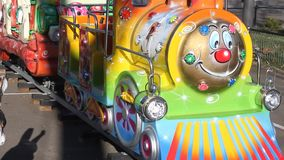 Playground for children. In the park - train colorful and lighting stock video