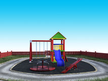 Playground, Children Play Set, Fun. Colorful illustration of a playground set for children play. Kids love to have fun outside Royalty Free Stock Photography