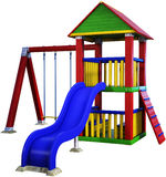 Playground, Children Play Set Isolated. Colorful illustration of a playground set for children play. Kids love to have fun outside Stock Images