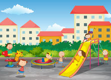 A playground. With children playing Stock Image