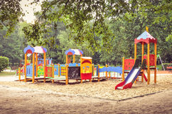 Playground for children. Children`s playground in a city park stock photography