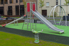 Playground. A children's playground on the new housing estate in the Centre of Krakow Stock Photo