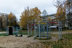 Playground. Children`s playground in one of the residential quarters Stock Photo
