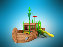 Playground for children ship brown yellow green 3d render on blu. E background Royalty Free Stock Photo