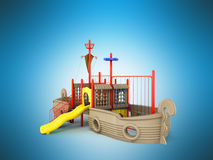 Playground for children ship red yellow blue 3d rendering on blu. E background Royalty Free Stock Images