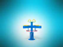 Playground children spring yellow yellow red 3d render on blue b. Ackground Royalty Free Stock Photos