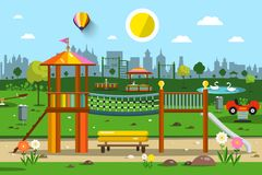 Playground in City Park. Vector Royalty Free Stock Photo