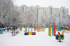 Playground in city yard on winter season Royalty Free Stock Photography