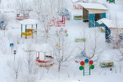Playground on a cold winter day Royalty Free Stock Images