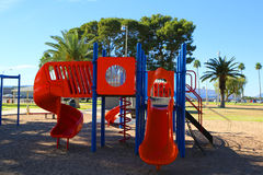 Playground. Colorful park playground with no people on a sunny day Stock Images