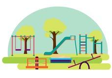 playground Corrediça e balanço Fotos de Stock