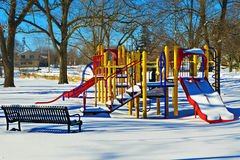 Playground Covered in Snow Stock Photography
