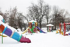 Playground covered by snow Stock Photography