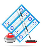 Playground for curling sport game vector illustration Royalty Free Stock Photos