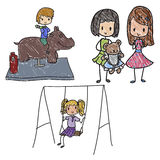 Playground. Doodle images of playing children Stock Images