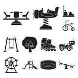 Playground, entertainment black icons in set collection for design. Attraction and equipment vector symbol stock web. Playground, entertainment black icons in stock illustration