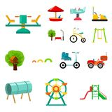 Playground, entertainment cartoon icons in set collection for design. Attraction and equipment vector symbol stock web. Playground, entertainment cartoon icons Stock Image