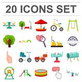 Playground, entertainment cartoon icons in set collection for design. Attraction and equipment vector symbol stock web. Playground, entertainment cartoon icons Stock Photo