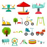 Playground, entertainment cartoon icons in set collection for design. Attraction and equipment vector symbol stock web. Playground, entertainment cartoon icons Royalty Free Stock Photos
