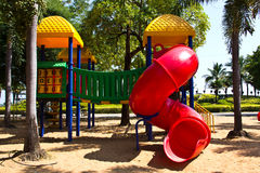 Playground equipment with. Slides and climbing frames for children Royalty Free Stock Photography