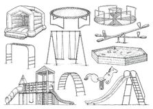 Playground equipment collection, illustration, drawing, engraving, ink, line art, vector stock illustration