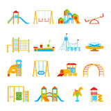 Playground Equipment Icon Set Stock Photos