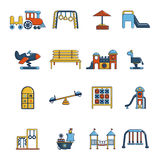 Playground equipment icons set, cartoon style Stock Image