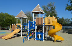 Playground Equipment. Playground set with slides, climbers, holes, tunnel, roof Royalty Free Stock Photography