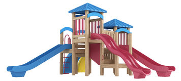 Playground equipment with slides Stock Photo