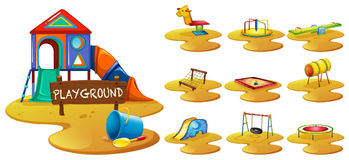 Playground equipments on the playground Royalty Free Stock Photos