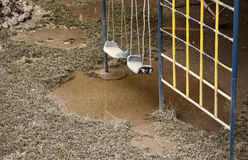 Playground after flood Royalty Free Stock Photo