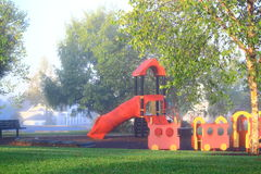 Playground Foggy Morning Stock Photos