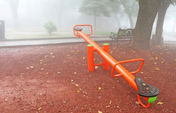 Playground in foggy Royalty Free Stock Photography
