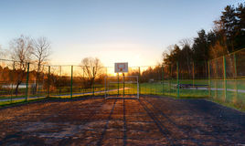 Playground with football gates early summer morning Stock Image