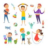 Playground with funny characters of childrens which playing at different active games. Happy activity kids play game with toys. Vector illustration Royalty Free Stock Photography