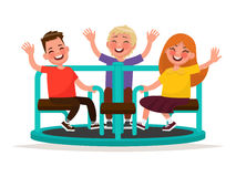 Playground. Funny kids whirl on the carousel. Vector illustratio Royalty Free Stock Photos