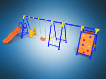 Playground for games slide blue yellow 3d render on blue backgro Stock Photos
