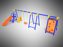 Playground for games slide blue yellow 3d render on gray backgro Stock Photo