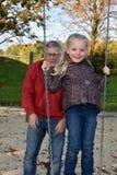 At playground with grandpa Stock Image