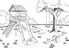 Playground graphic black white landscape sketch illustration Royalty Free Stock Photography