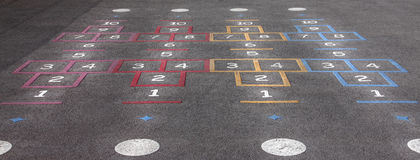 Playground hopscotch. School playground hopscotch in different colors Stock Images