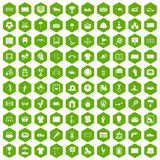 100 playground icons hexagon green. 100 playground icons set in green hexagon isolated vector illustration Stock Image
