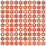 100 playground icons hexagon orange. 100 playground icons set in orange hexagon isolated vector illustration Royalty Free Stock Photos