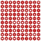 100 playground icons hexagon red. 100 playground icons set in red hexagon isolated vector illustration Stock Photo