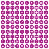 100 playground icons hexagon violet. 100 playground icons set in violet hexagon isolated vector illustration royalty free illustration