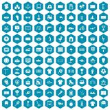 100 playground icons sapphirine violet. 100 playground icons set in sapphirine hexagon isolated vector illustration Stock Photos