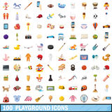 100 playground icons set, cartoon style Royalty Free Stock Photos